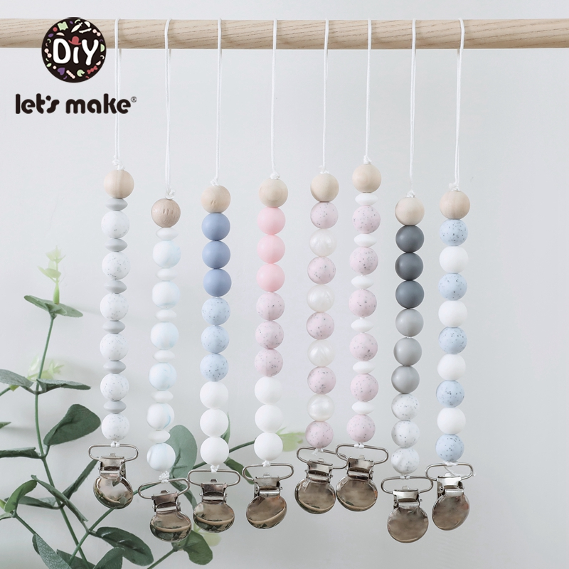 Let's Make 8pcs Silicone Beads Pacifier Clips Set Bpa Free Silicone Teether Acrylic Letter Beads Pendant Pacifier Chain