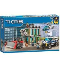 591pcs 10659 City Police Bulldozer Break in Bank Building Blocks Set Bricks Toys Compatible Legoinglys City 60140 for Children