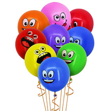 10Pcs/lot 12inch 2.8g Eyes Smiling Face Balloons Thick Big Smile Printed Balloon Happy Birthday Party Decorations Kids Toys
