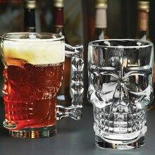 KTV vaso de cristal para cerveza con asa y Calavera, vaso de cristal de 500ml, para beber vino, Vodka
