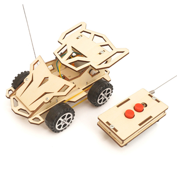 Kids DIY RC Car Assembly Building Vehicle Model Wooden Science Experiment Kit Toys For Children Powered Educational Toy Boy Gift theo jansen mini strandbeest model wind power beast diy educational toys handmade science experiment toys child birthday gift