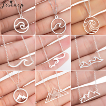 Jisensp Bohemian Wave Pendant Necklace Stainless Steel Jewelry Necklace for Women Beach Surfer Charms Collar Bijoux Femme