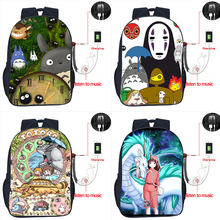 Totoro USB Charge High Quality Cartoons Boys Girls Backpack Students Book Knapsack Fashion Travel Bags Spirited Away Schoolbag
