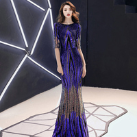AE480 New 2020 Formal Evening Dresses O Neck Long Blue Sequined Party Maxi Evening Gown Dress