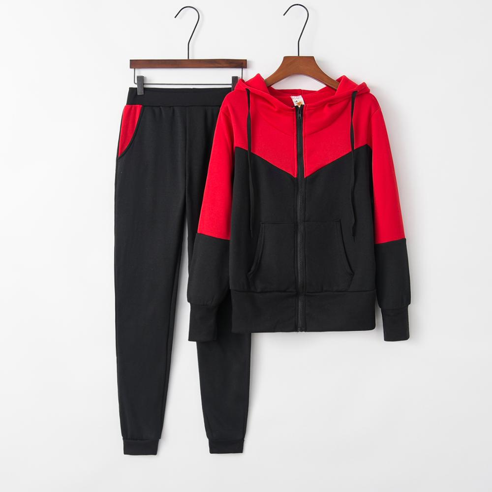 Womens Hoodie Suit European And American Fashion Outdoor Polyester Thickened Autumn Sports Suit Women's Tennis Suit All Seasons