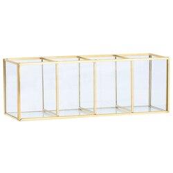 Skandynawski złoty pojemnik szklany Flip zbiornik luksusowy nowoczesny pojemnik na kosmetyki pojemnik mikro-krajobraz w kwiaty do pokoju C