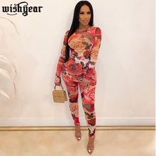 Floral Print Mesh Tracksuits Autumn Women's Set O Neck Long Sleeve T Shirt Top+ Pencil Pants Women Fashion Sportswear Outfits цена 2017