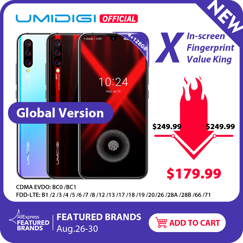 "Global Version UMIDIGI X In-screen Fingerprint 6.35"" AMOLED 48MP Triple Rear Camera 128GB NFC Helio P60 4150mAh Cellphone"