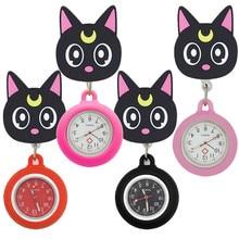 Preto lua gato adorável dos desenhos animados silicone stretchable bolso relógios enfermeira médico vestido hospital relógio de quartzo médico pendurar