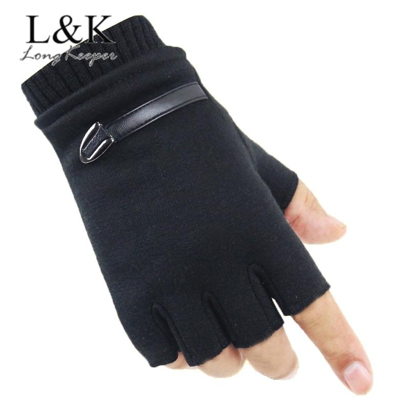 Unisex Winter Suede Gloves Women Men Fleece Warm Half Finger Gloves Fingerless Mittens For Outdoor Sport Bicycle Driving Gloves