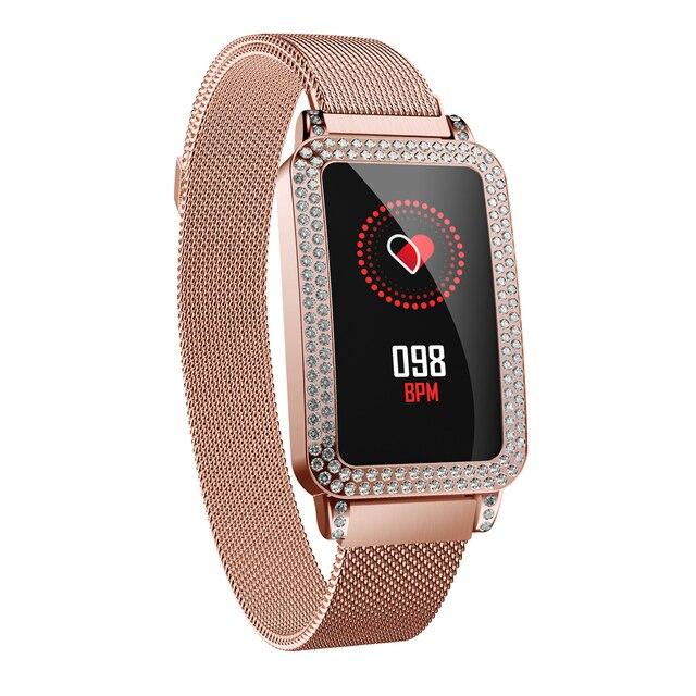 Pani Smartwatch prezent bransoletka kobiety z Diamend Bluetooth sportowe Android iOs najlepszy prezent na boże narodzenie prezent złoty fioletowy srebrny