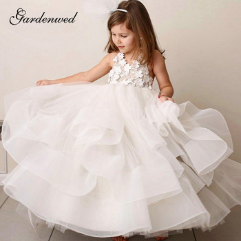 Ball Gown Flower Girl Dresses 2020 Tiered White First Communion Dresses For Girls Long Pageant Gowns tulle glitz pageant dresses long flower girls dresses for wedding gowns ball gown girls first communion mother daughter dresses