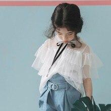 Летняя детская одежда; клубника; Shan Xian Qi; макет; комплект из двух предметов; рубашка с бантом для девочек; Милая Элегантная футболка с короткими рукавами