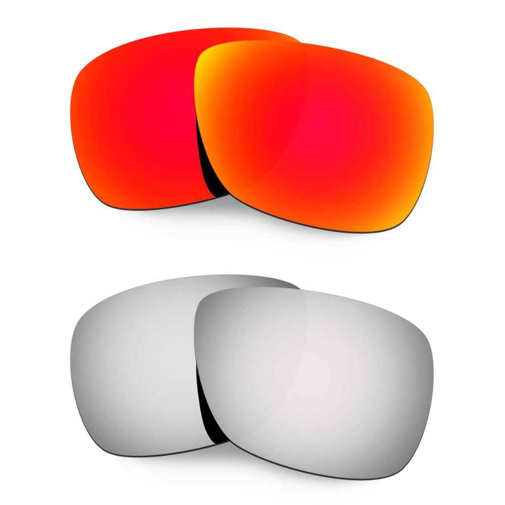 HKUCO For Inmate Sunglasses Polarized Replacement Lenses 2 Pairs Red & Silver