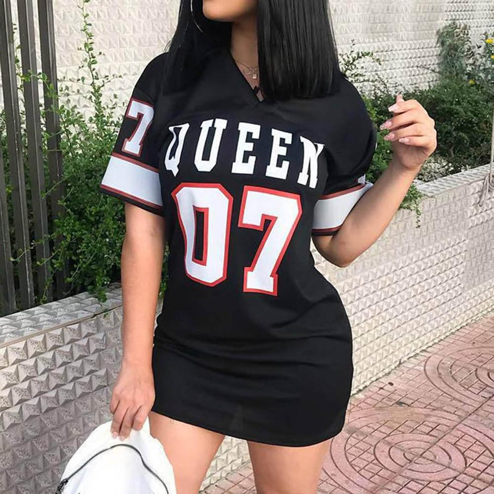 Women Casual Dress Female 2020 Summer Short Sleeve Loose  Queen Letter Number Print Party Dresses Ladies Fashion Streetwear