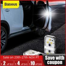 Baseus 2 adet 6 LEDs araba açılış kapı uyarı ışığı güvenlik anti çarpışma flaş ışıkları kablosuz manyetik sinyal lambası
