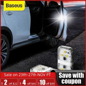 Baseus 2Pcs 6 LEDs Car Openning Door Warning Light Safety Anti-collision Flash Lights Wireless Magnetic Signal Lamp