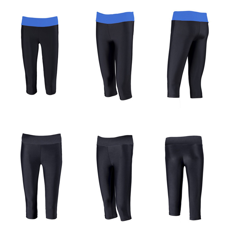New Style Black Half Length High-waisted Boxers Profession Sports Training Swimming Trunks Long Pants Extra-large WOMEN'S Leggin