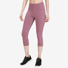Wysokiej talii Legging kobiet Hip-up obcisłe spodnie Legging kobiet elastyczne jednolity kolor Fitness przycięte spodnie kobiet Legging różowy 2020 tanie tanio feitong Kostek STANDARD Satin women pants Kobiety Wysoka Na co dzień Poliester Stałe