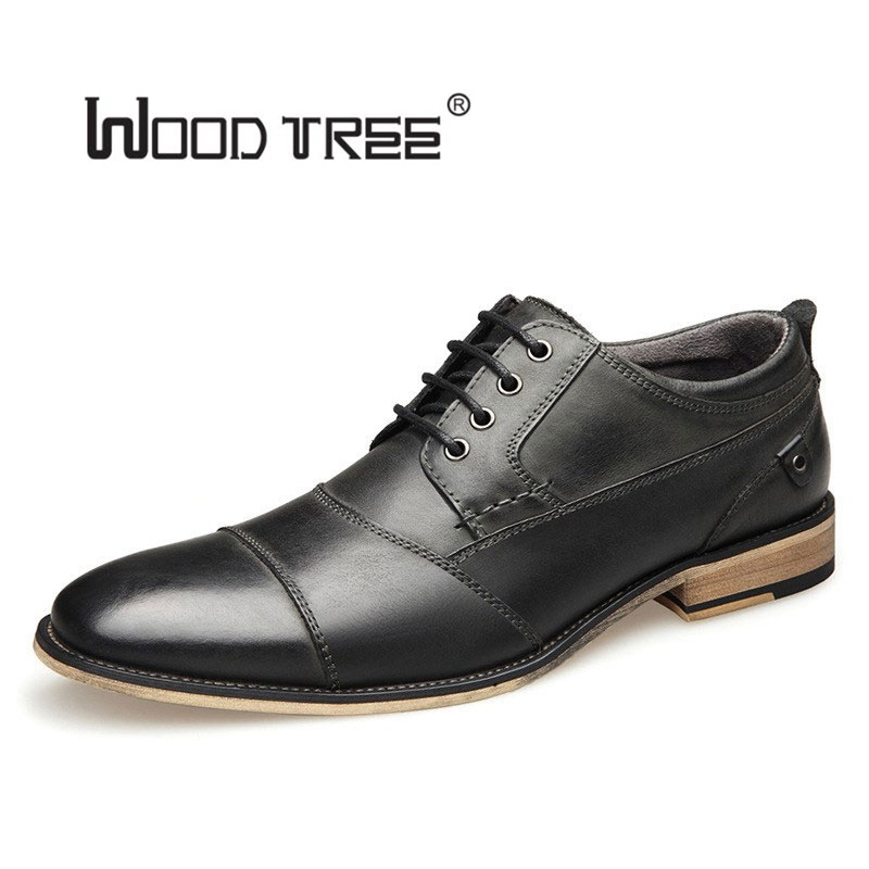 WOODTREE large size men's shoes leather lace up European and American British embossed foreign trade shoes business dress