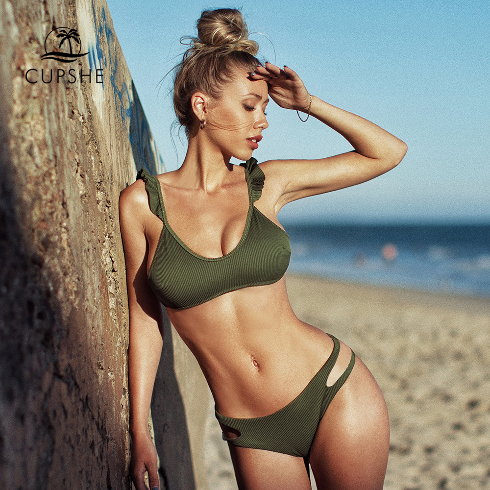 CUPSHE Olive Textured Ruffled Cut Out Bikini Sets Sexy Lace Up Swimsuit Two Pieces Swimwear Women 2020 Beach Bathing Suits