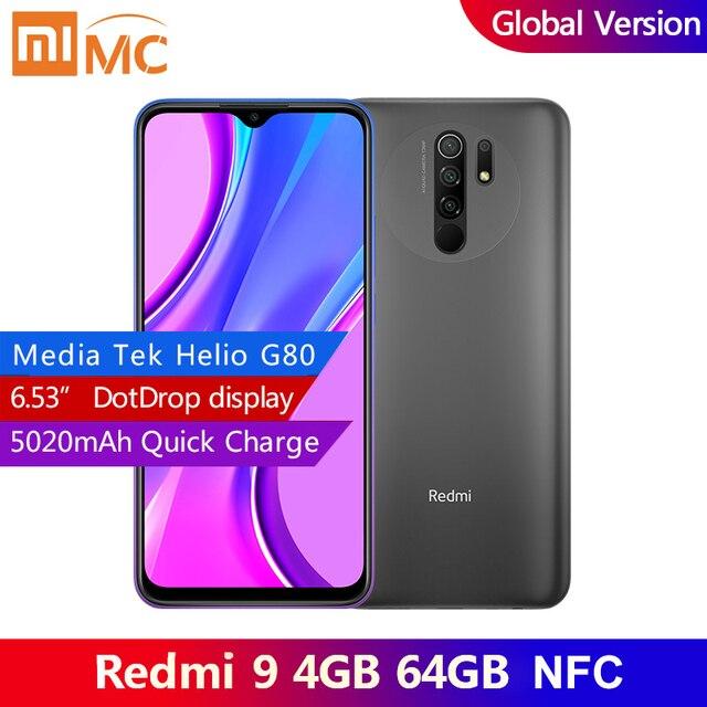 Original redmi 9 4gb 64gb versão global smartphone 6.53 ffhd + ponto drop display helio g80 octa núcleo 5020mah ai rosto desbloqueio 1