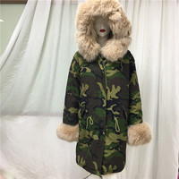 Camo printed long nude color fox fur real shoot jacket&video holiday/travel best wear