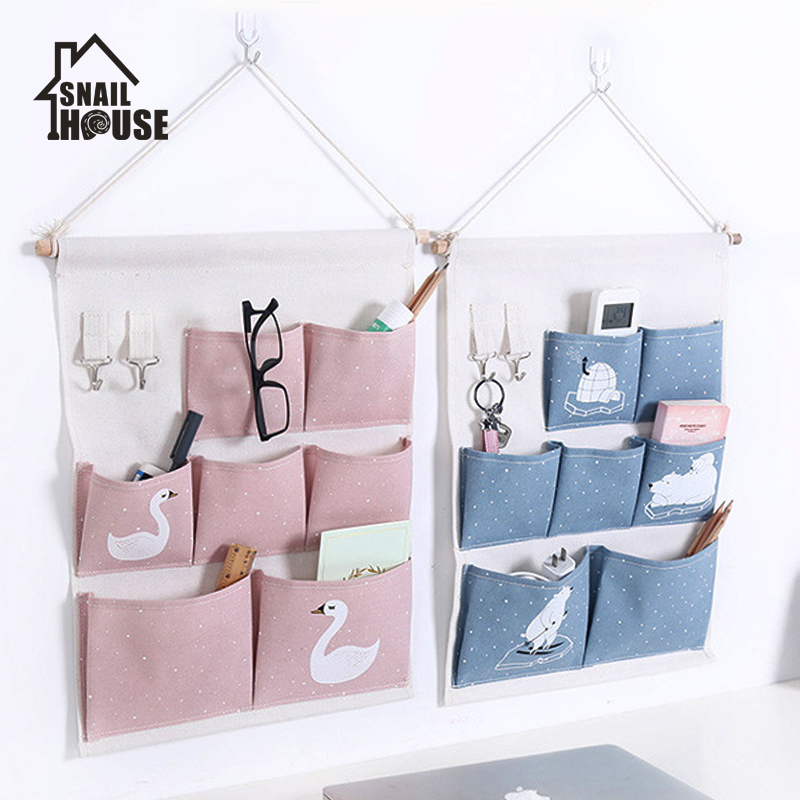 Snailhouse Pink Printing 6 Pockets Wall Hanging Storage Bag Waterproof Sundries Pouch Bedroom Sundries Bag Simple Home Organizer