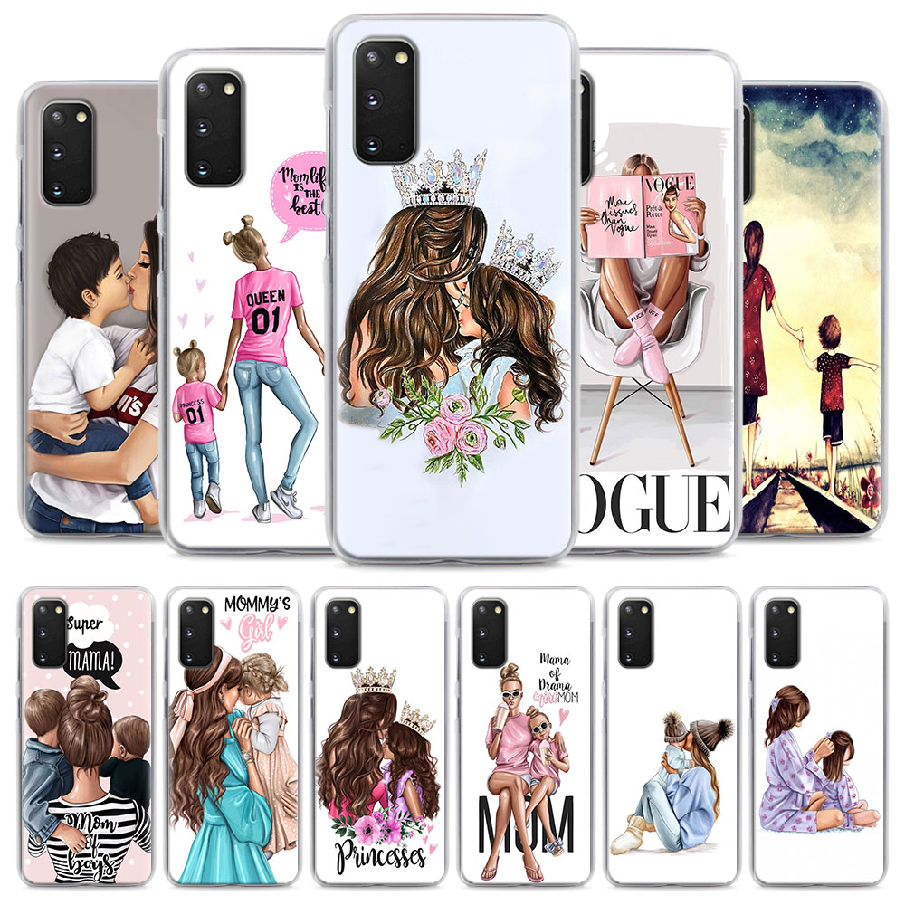 baby Mom and Queen black girl Phone Case for Samsung <font><b>Galaxy</b></font> <font><b>S10e</b></font> S10 Plus S7 S8 S9 Plus Note 8 9 10 Plus S20 5G Hard Case Coque image