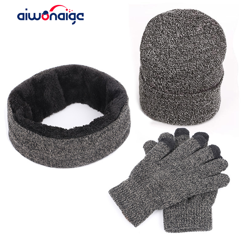 Winter Male/Female Warm Knit Hat Scarf Touch Screen Gloves Set Outdoor Warm Cotton Cap 3 Piece Set Casual Beanie Knitted Gloves