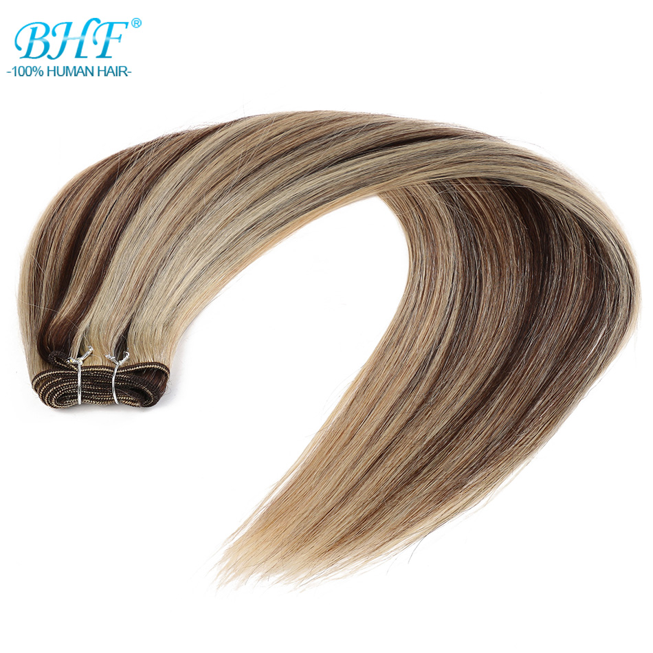BHF 100% Human Hair Weft Ombre Straight Machine Made Remy Natural Weave Hair 1piece 100g  22