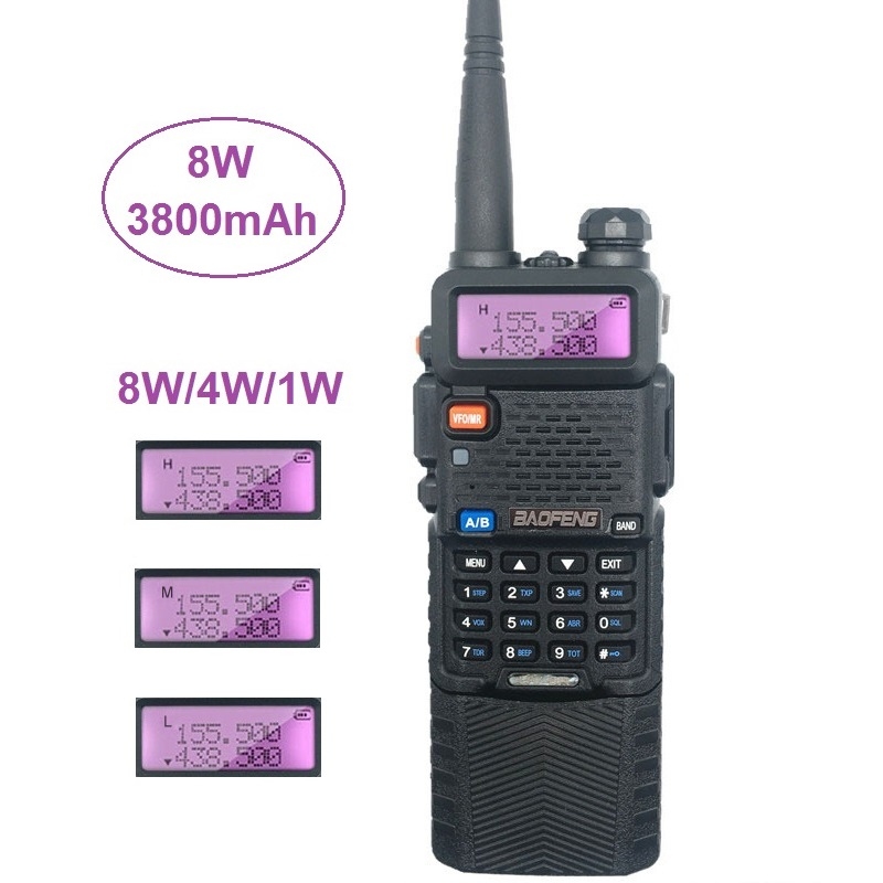 8W High Power Baofeng UV-5R Walkie Talkie Amateur Radio Scanner VHF UHF CB Radio Comunicador USB Woki Toki 3800mAh UV5R Hunting