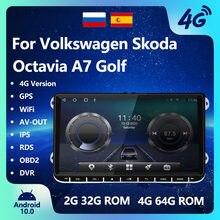Android 10.0 rádio do carro multimídia player de vídeo 4 64g navegação fm rádio android jogador do carro internet rádio wifi para vw skoda
