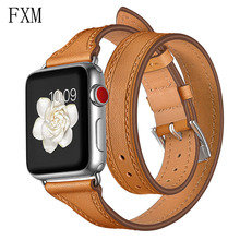 цена на Genuine Leather Strap for Apple Watch Band 42mm 38mm Double Tour Wrist Bracelet Belt 44mm/40mm Iwatch Series 5 4 3 2 Watchbands
