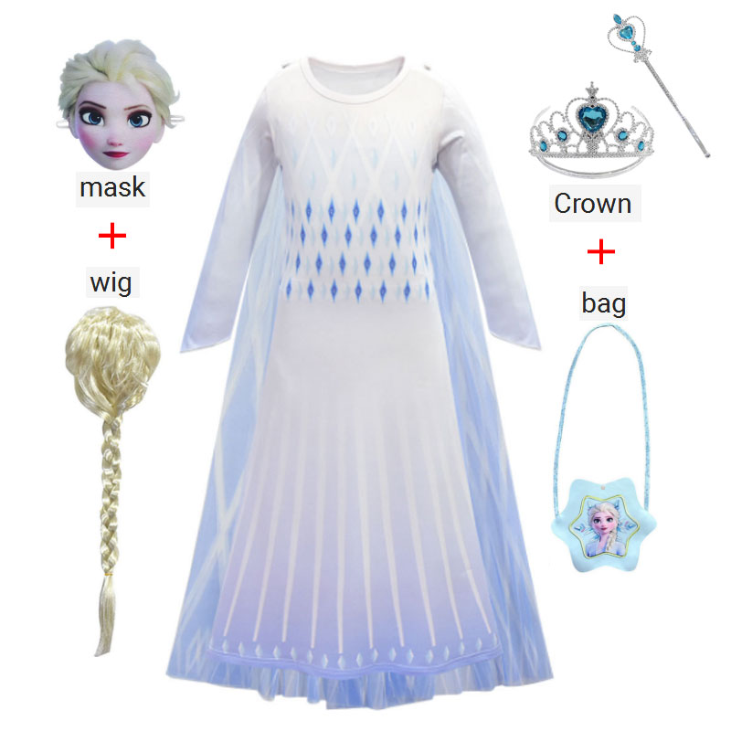 New Cute Girl Frozen 2 Princess Aisha Dress Cosplay Costume Christmas Party Stage Performance Kid Costume Crown Magic Wand Props
