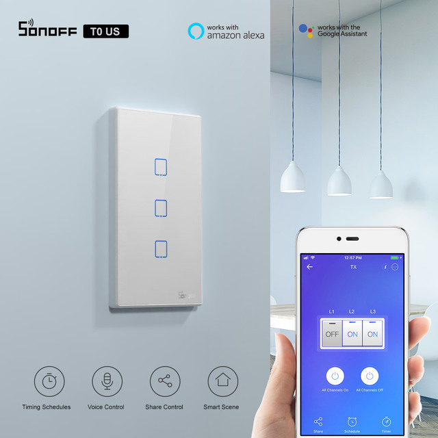 Itead Sonoff T0US Wifi Smart Light Switch 120 Type 1/2/3 gang TX Wall Switches Remote Controlled Works With Alexa Google Home 1