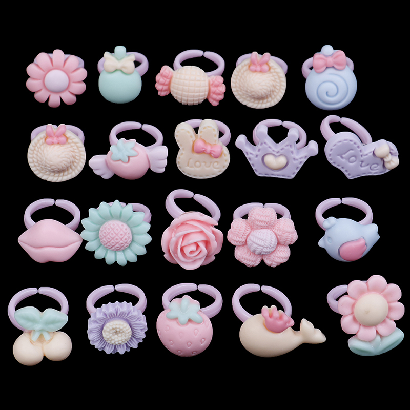 20pcs Diy Craft Toys Love Kids Cute Sweet Rings Design Flower Animal Fashion Accessories Girl Child Gifts Finger Rings