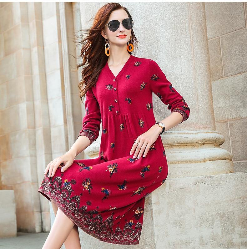 ZUOMAN New red wool knitting dress female autumn/winter 2020 v is gotten loose long hair dress knee-length dress 7