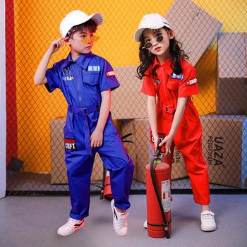 2021 letnie dziecięce hip-hopowe jednoczęściowe kombinezony garnitur dziewczyny chłopcy kostiumy z krótkim rękawem dziewczyny hip-hopowe modne ciuchy jazzowe tanie i dobre opinie Extrayou CN (pochodzenie) Pasuje prawda na wymiar weź swój normalny rozmiar Oddychające O-neck Stałe H134 COTTON blue red