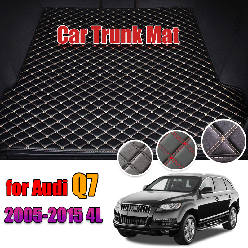 Leather Car Trunk Mat Liner Pad Cargo Pad Carpet For Audi Q7 4L 2005-2015 Trunk Boot Mat Tail Cargo Liners 2009 2010 2011 2012