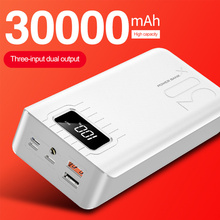QI Fast Charging Power Bank 30000mAh TypeC Micro USB Powerbank LED Portable External Battery for Poverbank
