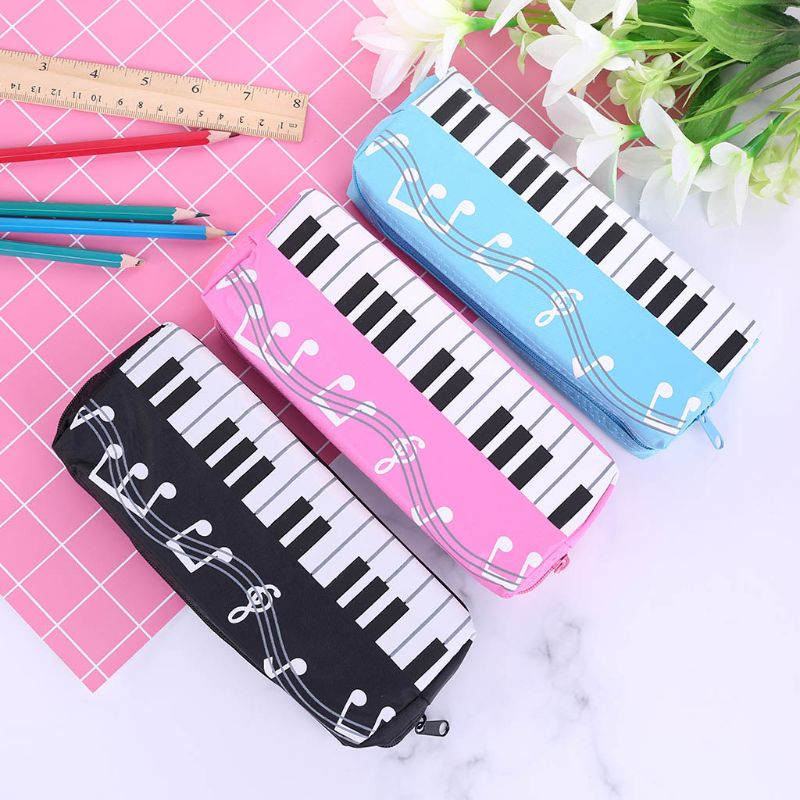 Music Notes Piano Keyboard Pencil Case Large Capacity Pen Bags Student Stationery School Office Supplies C26