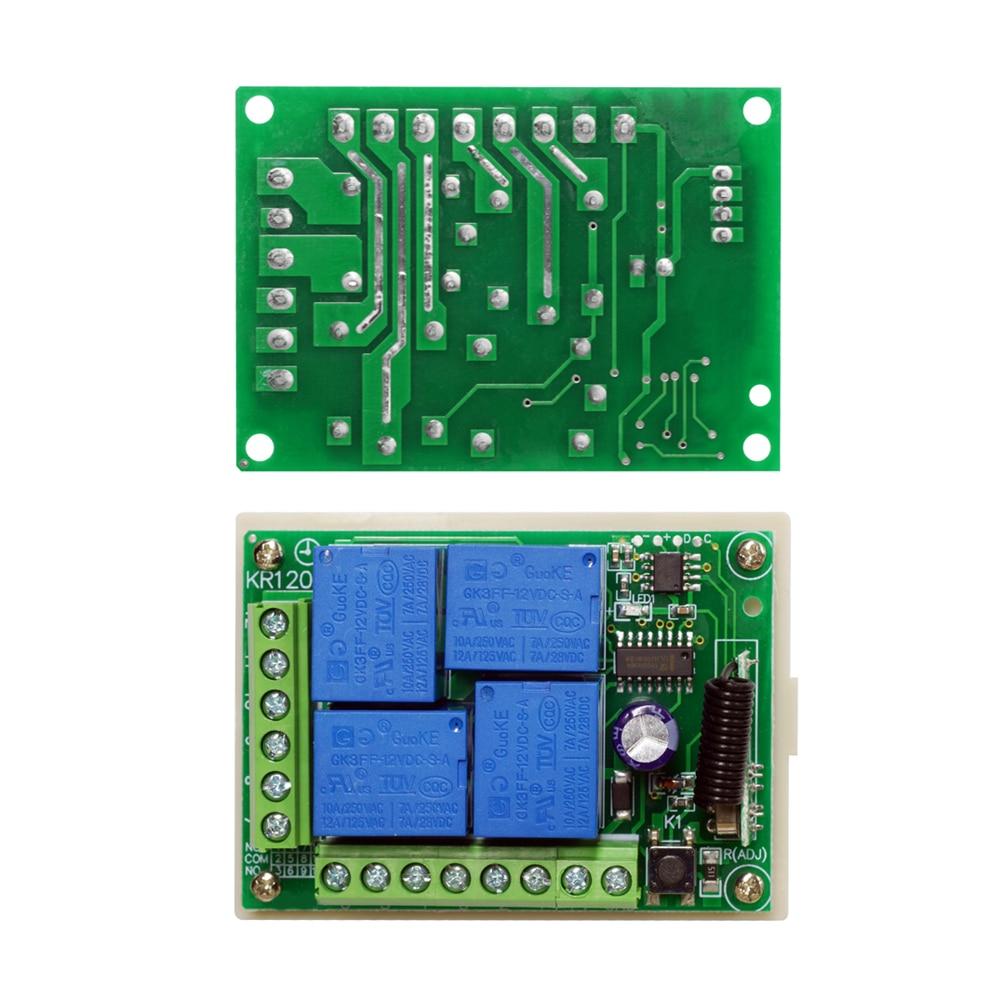 DC 12V 10A 433MHz 4CH Wireless Relay RF Remote Control Switch Receiver I1