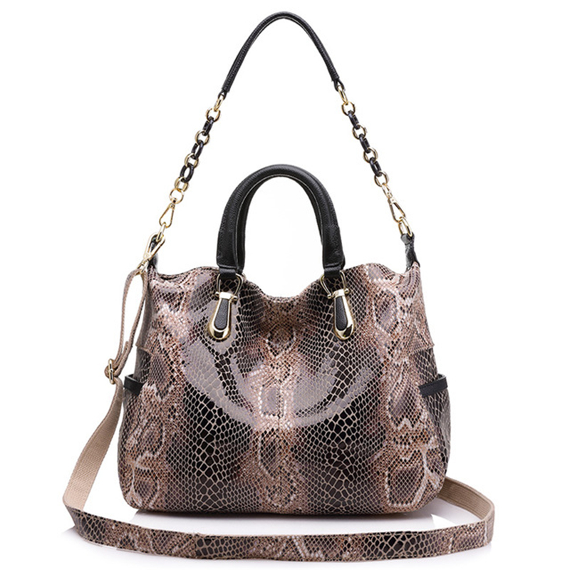Casual Tote Bags Women Large Shoulder Bags Genuine Leather Luxury Handbags With Snake Printing Women Bags Designer
