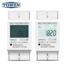 Medidor digital de energia 80a din rail monofásico, tela lcd digital, medidor de consumo de energia kwh ac 220 v 230 v 50 hz/60 hz