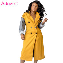 Adogirl Color Patchwork Double Breasted Long Woolen Coat 2019 Winter Women Fashion Casual Warm Outerwear Female Overcoat