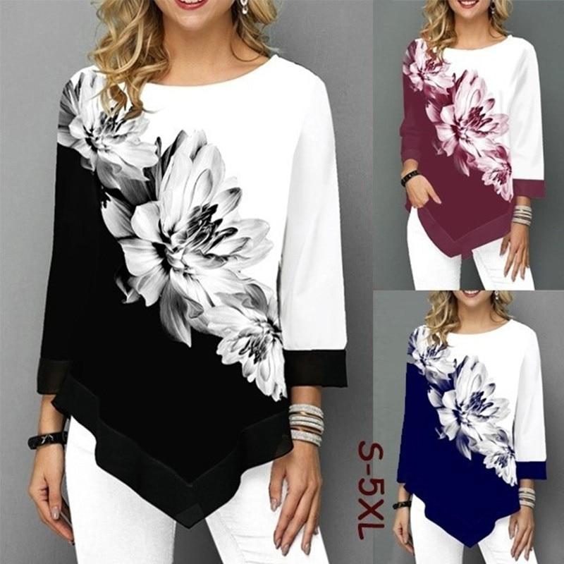 Unregelmäßigen Blume Drucken Langarm T-shirt Frauen Oansatz Mode Kleidung Weibliche T Shirts Casual S-5XL