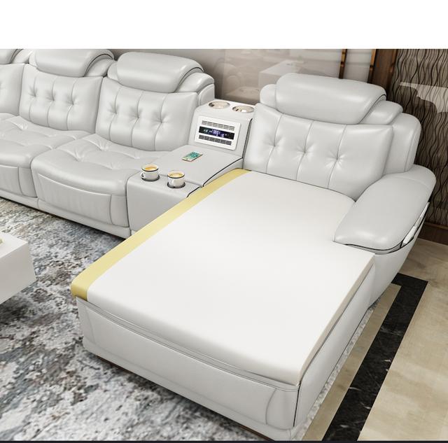 living room Sofa set диван мебель кровать muebles de sala L shape real genuine leather sofa air cleaner bluetooth speaker Nordic