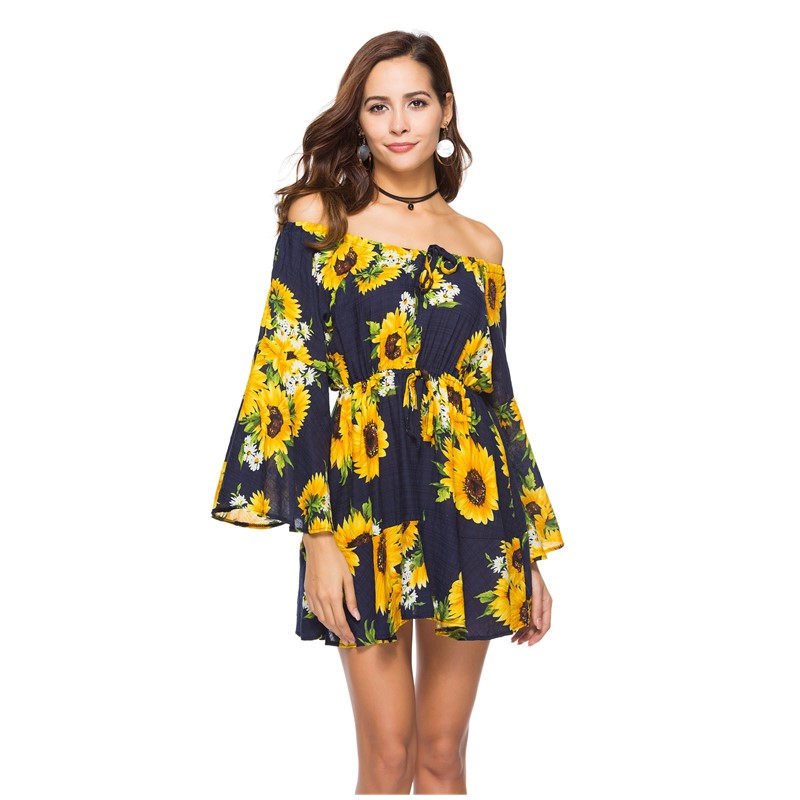 US $13.5 52% OFF|summer sunflower dress off shoulder womens dresses new  arrival 2019 loose short bohemian dress cotton plus size clothing C2275-in  ...