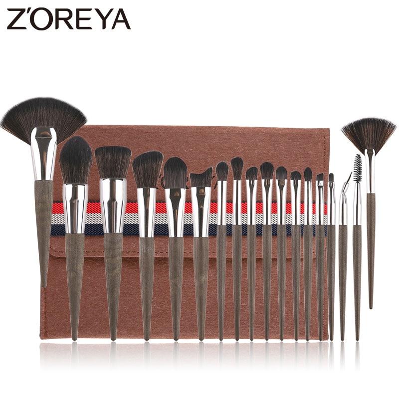 Zoreya coffee grounds 18 pçs pincéis de maquiagem conjunto profissão compõem kit escova fundação lábio pó sombra para os olhos cosméticos ferramenta